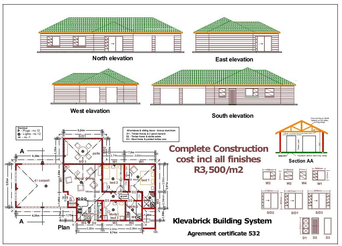 RDP House Plans - Klevabrick Albany technical drawing