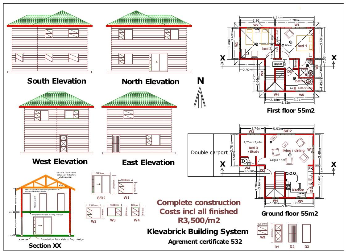 RDP House Plans - Klevabrick Double Show Unit technical drawing